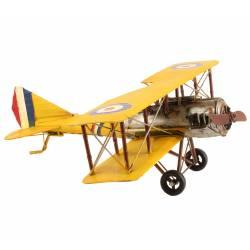 Miniature Avion de Guerre Réplique Biplan Maquette Aerienne France en Métal Multicolore 25x58x62cm