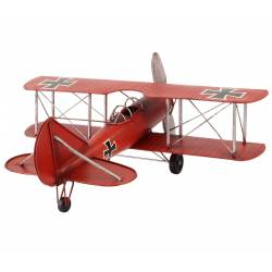 Miniature Avion de Guerre Réplique Biplan Maquette Aerienne Baron Rouge en Métal Multicolore 25x58x62cm