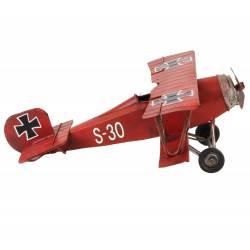 Petite Miniature Avion de Guerre Réplique Biplan Maquette Aerienne Baron Rouge en Métal Multicolore 9x25x23,5cm