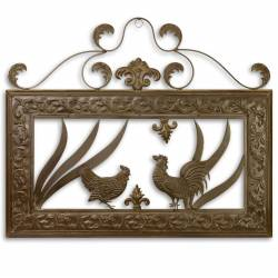 Fronton Coq Décoratif à Fixer Applique Murale Motif Nature Rectangulaire en Métal Patiné Marron Chocolat 1x68x83cm