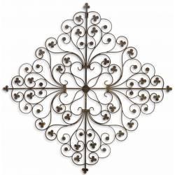 Arbre de Vie Décoratif à Fixer Applique Murale Fronton Motif Nature en Forme de Coeur en Métal Patiné Marron 0,5x60x61cm