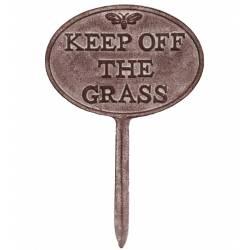 Tuteur Pic de Jardin Motif Etiquette Keep Off The Grass Tige en Fonte Patinée Marron 1x20x30,6cm