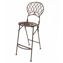 Chaise Haute Pliante Fauteuil de Bar Pliable ou pour Ilot Central en Fer Forgé Marron 40x58x116cm