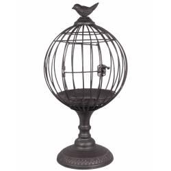 Cage à Oiseaux sur Pied Photophore Intérieur ou Extérieur Volière Décorative Ronde en Métal Gris Foncé 23x23x42,5cm