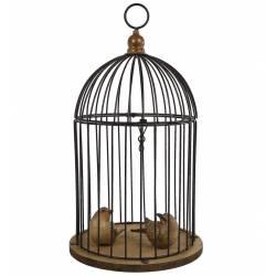 Petite Cage à Oiseaux Intérieur ou Extérieur Volière Décorative Ronde en Métal et Bois 30x30x51cm