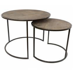 Lot de 2 Tables Basses Consoles Dessertes Gigognes Rondes en Bois et Fer Patiné Noir 45x60x60cm