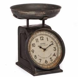Horloge de Comptoir Style Ancienne Reproduction d'une Balance à Poser en Fer Patiné Marron 21x24x27cm