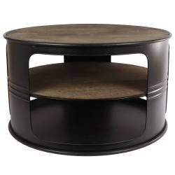 Table Basse Baril Ronde Console de Salon Forme Bidon Design Industriel Vintage en Métal Noir et Bois Patiné 40x70x70cm