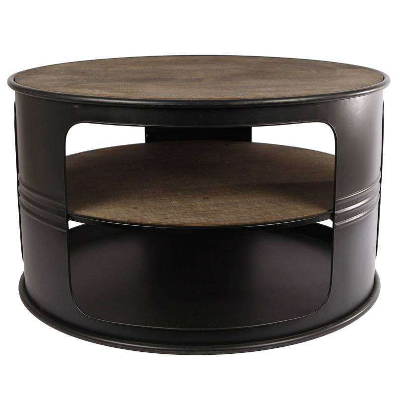 table basse baril ronde console de salon forme bidon. Black Bedroom Furniture Sets. Home Design Ideas