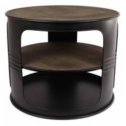 Table Basse Baril Ronde Console de Salon Forme Bidon Design Industriel Vintage en Métal Noir et Bois Patiné 40x50x50cm