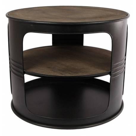 Table Basse Baril Ronde Console De Salon Forme Bidon Design Industriel  Vintage En Métal Noir Et