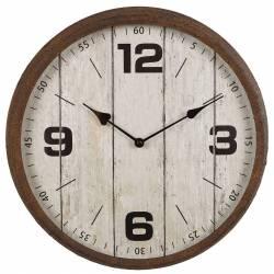 Horloge Murale Pendule Ronde de Cuisine ou Salon Intérieur Extérieur en Bois Patiné Blanc et Métal Effet Rouillé 9x38x38cm