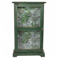 Petite Armoire Verticale à Poser Motif Jungle Sauvage ou Etagère Murale à Fixer en Bois Patiné Vert et Papier Vernis 12x30x51cm