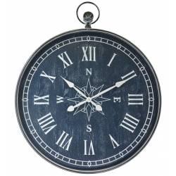 Horloge Murale Vintage Géante Style Ancienne Montre a Gousset Grande Pendule Ronde en Fer Bleu 7x78x95cm