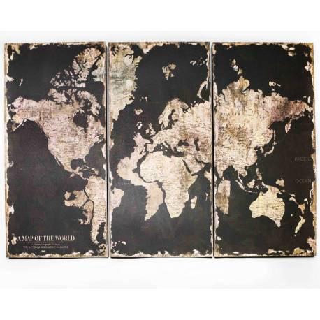 Tableau Triptyque Noir Trio Cadres Bois Représentation de Mappemonde Monde Murale Décoratif Vintage Rétro 2,5x80x114cm