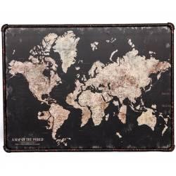 Tableau Noir Toile Tissée Cadre Fer Représentation de Mappemonde Monde Murale Décoratif Vintage Rétro Noir 3x60x80cm