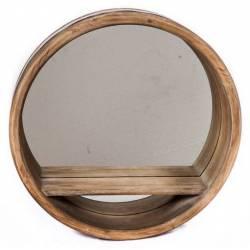 Miroir Rond Etagère Façon Tonneau Fût à Fixer Sphère Bandeau Zinc Rangement Mural en Bois 11x51x51cm