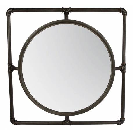 Miroir Mural Industriel Carré Glace Style Plomberie Tuyaux en Fer Patiné Noir 5,5x63x63cm