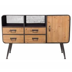 Meuble TV Gin Console de Rangement Tendance Vintage Scandinave Buffet en Bois et Métal Mat Gris 38x80x120cm