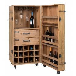 Sublime Vinothèque Lico Dutchbone Armoire à Vin Rangement Bouteilles Rampe Verres en Bois et Fer 50x50x109cm
