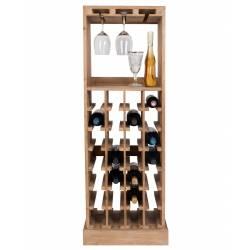 Sublime Vinothèque Claude Armoire à Vin Rangement Bouteilles Rampe Verres en Bois 36x46x125cm