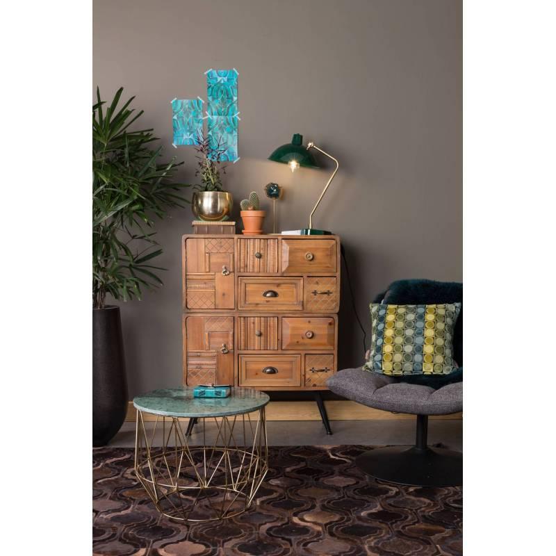 commode sur pieds jove meuble de rangement tendance vintage en bois finition antique et m tal. Black Bedroom Furniture Sets. Home Design Ideas