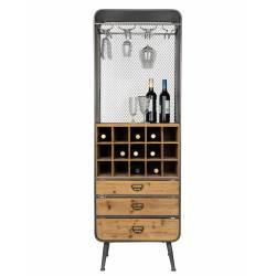 Sublime Vinothèque Vino Dutchbone Armoire à Vin Rangement Bouteilles Rampe Verres en Métal Gris et Bois 38x56x170cm