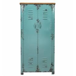 Grande Armoire à 2 Portes Meuble de Rangement Bibliothèque Dressing Etagère en Métal Patiné Bleu 38x75x153cm