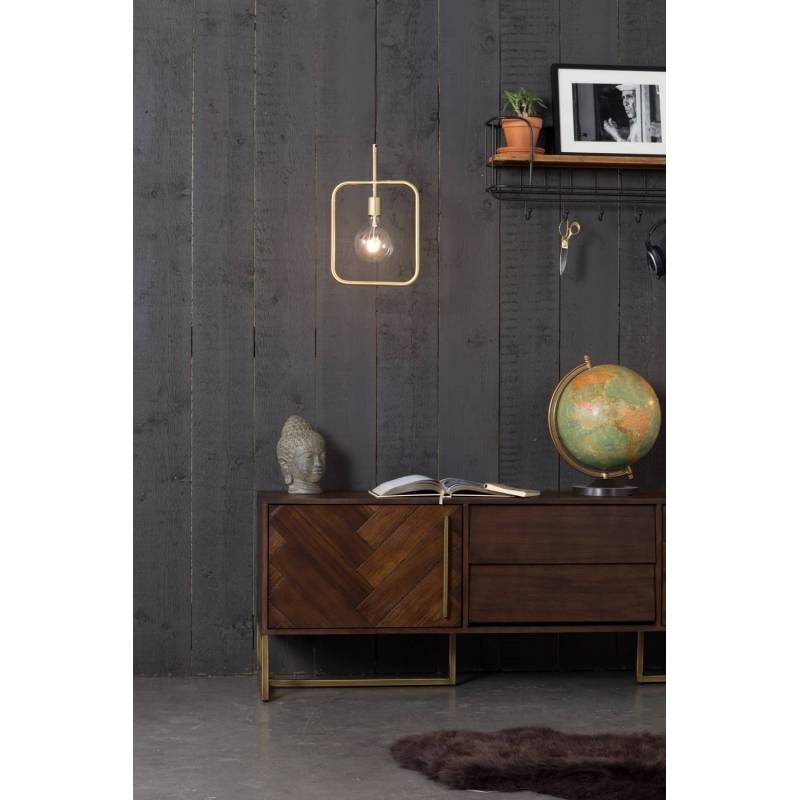 Meuble tv class meuble de rangement console salon design industriel vintage en acier laiton dor - Meuble tv et rangement ...