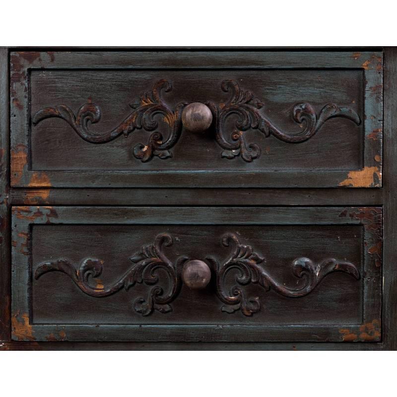 Meuble tv fuz dutchbone console salon meuble rectangulaire motifs sculpt s design vintage en - Meuble bois patine ...