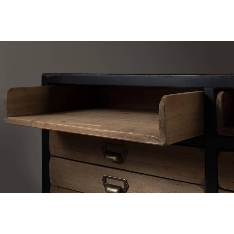 meuble tv sol dutchbone console tiroirs salon rectangulaire design vintage industriel en bois et. Black Bedroom Furniture Sets. Home Design Ideas