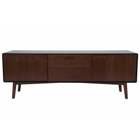 Meuble TV Juju Dutchbone Console Tiroirs Salon Rectangulaire Design Vintage Industriel en Bois Patiné Noyer 39,8x53x150cm