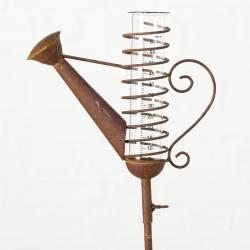 Exceptionnel Pluviomètre à Piquer Tuteur Plante Décoration de Jardin Motif Arrosoir en Fer Patiné et Tube en Verre 6,5x26x123cm