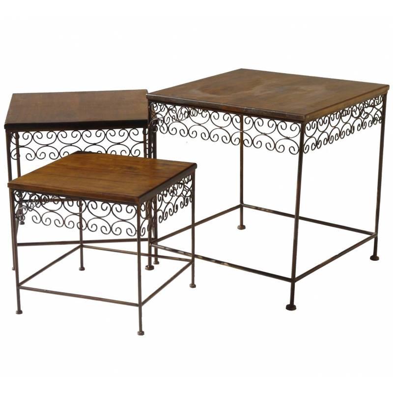 Table basse console d 39 appoint en fer et bois desserte bout - Table basse en fer et bois ...