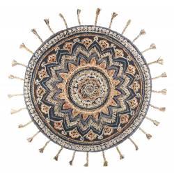 Tapis Circulaire Pix Dutchbone Carpette Salon Tapisserie Fait Main Tissu Laine et Coton 1,2x170x170cm