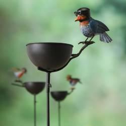 Grand Tuteur Bain d'Oiseaux à Piquer Coupelle Façon Bénitier Motif Oiseau Casque en Fer Patiné Multicolore 14,5x32x121cm