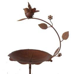 Grand Tuteur Bain d'Oiseaux à Piquer Coupelle Façon Bénitier Motif Oiseau en Fer Patiné Marron Rouille 28x35x147cm