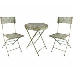 Salon de Jardin Salon de Thé 2 Places Personnes Table Bistrot et 2 Chaises Pliantes en Fer Vert Antique