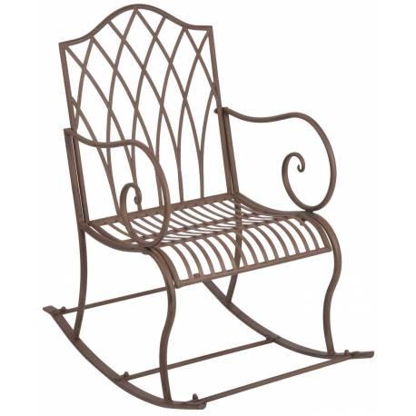 rocking chair chaise fauteuil de jardin a bascule int rieur ext rieur en fer patin marron. Black Bedroom Furniture Sets. Home Design Ideas