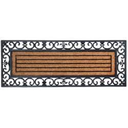 Tapis Gratte Pieds de Forme Rectangulaire ou Paillasson Motifs Linéraires en Coco et Caoutchouc 1,8x45x120cm