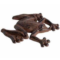 Statuette Grenouille Rampante ou Animal Décoratif à Poser en Fonte Patinée Marron 1,7x12x13,5cm