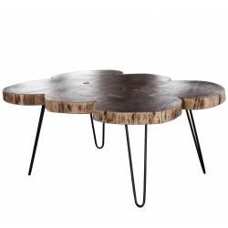 Table Basse Tronc Hinsk Console de Salon Tablette d'Appoint Guéridons en Acier Noir et Acacia 40x68x98cm