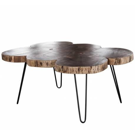 Superieur Table Basse Tronc Hinsk Console De Salon Tablette Du0027Appoint Guéridons En  Acier Noir Et