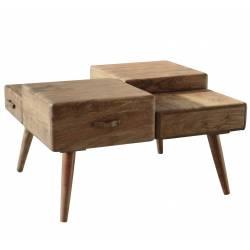 Table Basse Cube 4 Hinsk Console de Salon Tablette d'Appoint Guéridons en Acacia 45x60x70cm