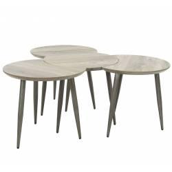 Table Basse Modulable Marque Hinsk Consoles d'Appoint Bout de Canapé 4 Pièces en Acier et Bois 45x101x142cm