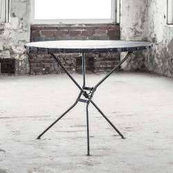 Table Ronde Rift Hinsk Desserte Pliable Console d'Appoint Guéridon en Acier et Bois Noir 76x100x100cm