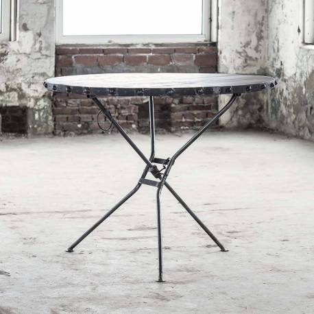 Table 76x100x100cm Noir Hinsk En Ronde Et Pliable Acier Guéridon Rift Console Desserte Bois D'appoint TKc3l1FJ5u