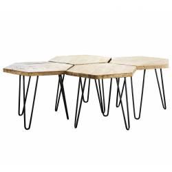 Table Basse Hexagone Marque Hinsk Modulable Consoles d'Appoint Bout de Canapé 4 Pièces en Acier et Bois 45x75x127,5cm