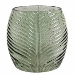 Superbe Vase Nature Porte Fleurs Décoration Motif Feuille Exotique en Verre Teinté Vert Pâle 9,5x16x16cm