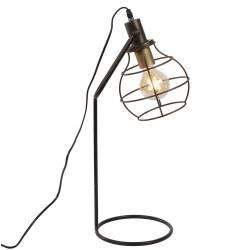Lampe de Table à Poser Luminaire Design de Bureau Eclairage d'Appoint Tendance en Métal Patiné Marron 22x25x61cm